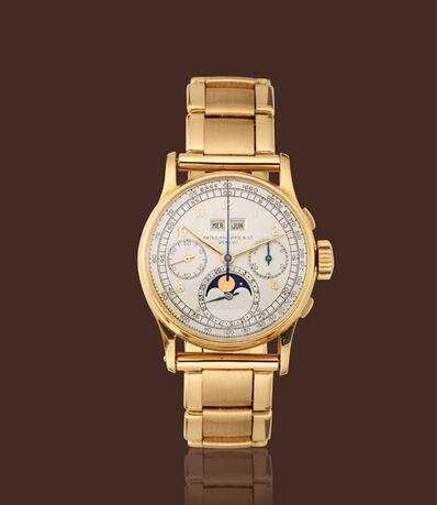 Patek Philippe, '18K yellow gold, ref. 1518 moon-phases calendar chronograph with bracelet'