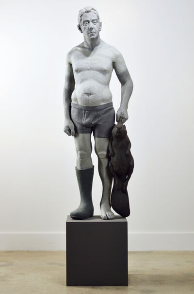 Nicholas Crombach, 'Ambivalence 1 of 3 - tall, figurative, male, animal, monochrome, resin sculpture', 2013