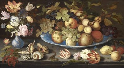 Balthasar van der Ast, 'Fruit still life in a Wan Li bowl with a bouquet of tulips and shells', 1620-1629