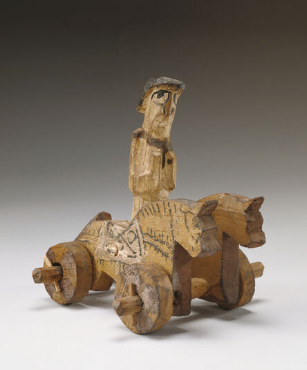 'Toy in the Shape of a Rider and Two Horses on Wheels',  4th century