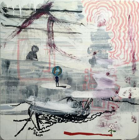 Juan Ugalde, 'Paisaje rosa con flor', 2017
