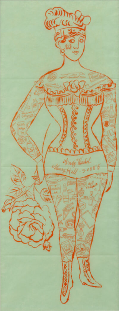 Andy Warhol, 'Tattooed Woman Holding Rose', 1955