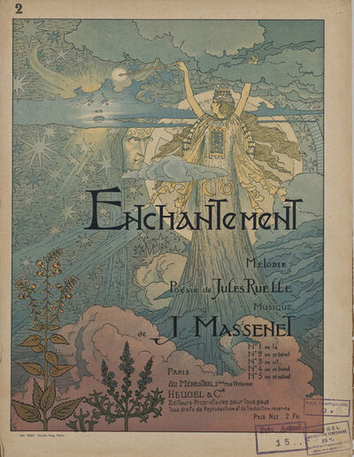 Eugène Samuel Grasset, 'Cover for the sheet music of Enchantement by Jules Massenet', ca. 1890