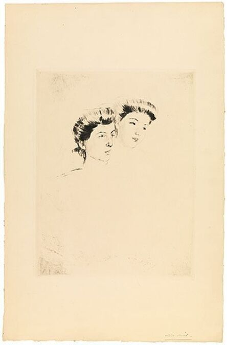 Mary Cassatt, 'Heads of Two Young Women Looking to Right', ca. 1898