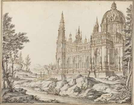 Vincenzo dal Re, 'Cathedral in a Landscape'