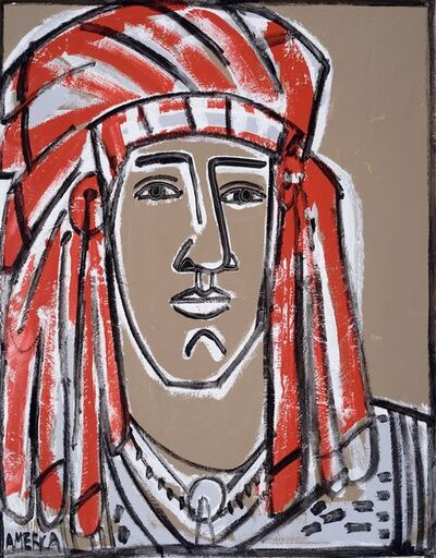 America Martin, 'Red Headdress', _