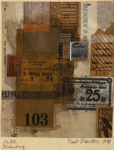 Kurt Schwitters, 'Hindenburg-Merzzeichnung, 157', 1920