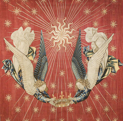 'Tapisserie royale, Charles VII représentant deux anges tenant une couronne (Royal tapestry, Charles VII represented by two angels holding a crown)', c. 15th century