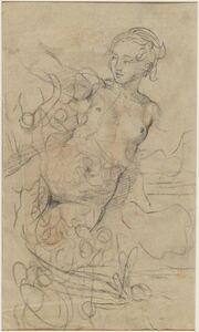 Jean-Baptiste Deshays, 'A Reclining Nude with Her Right Arm Raised over a Swift Composition Study [verso]', ca. 1763