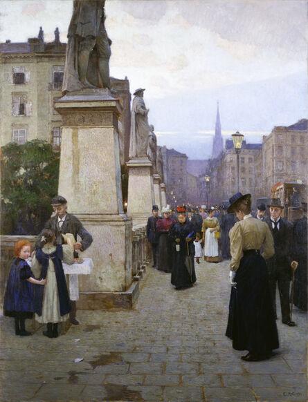 Carl Moll, 'View of Elisabeth Bridge in Kärntnerstrasse (early evening)', 1897