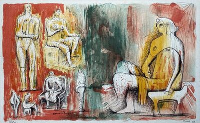 Henry Moore, 'Woman holding cat (1949) (signed)', 1949