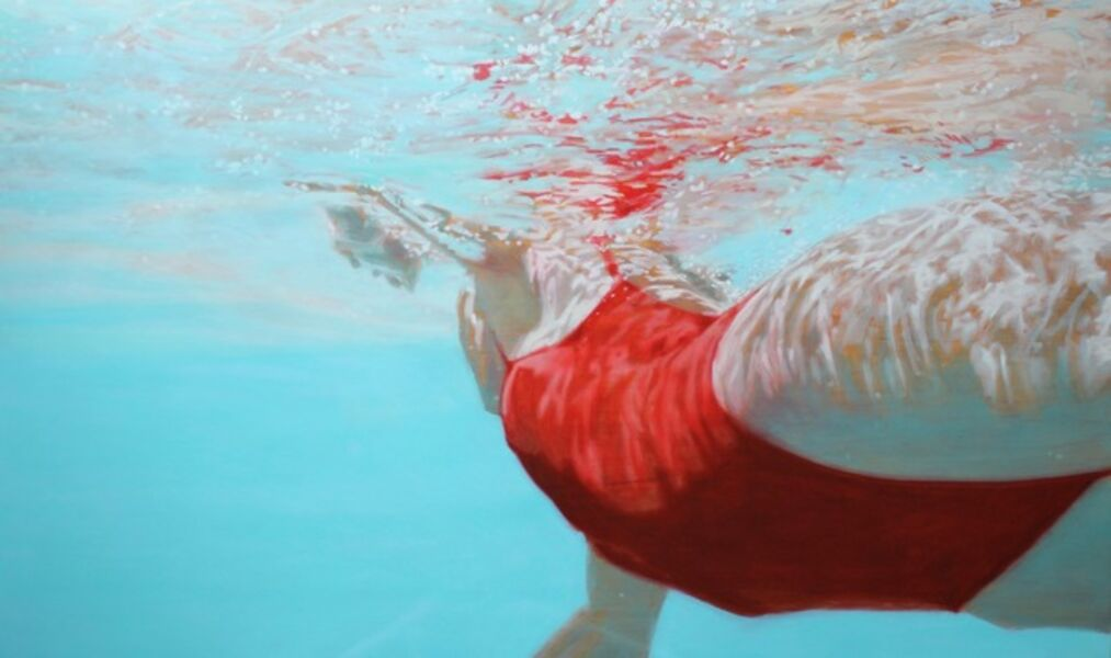 "Carol Bennett, '""Water Colors"" Woman Swimming in Red Bathing Suit with Reflections on Water', 2010-2018"