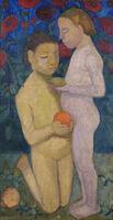 Paula Modersohn-Becker, 'Stehender und kniender Mädchenakt vor Mohnblumen II (Kneeling and Standing Girls Nude, Poppies in the Background II)', 1906