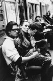 Kate Moss and Marcus Schenkenberg on the C train, Harper's Bazaar Uomo, New York