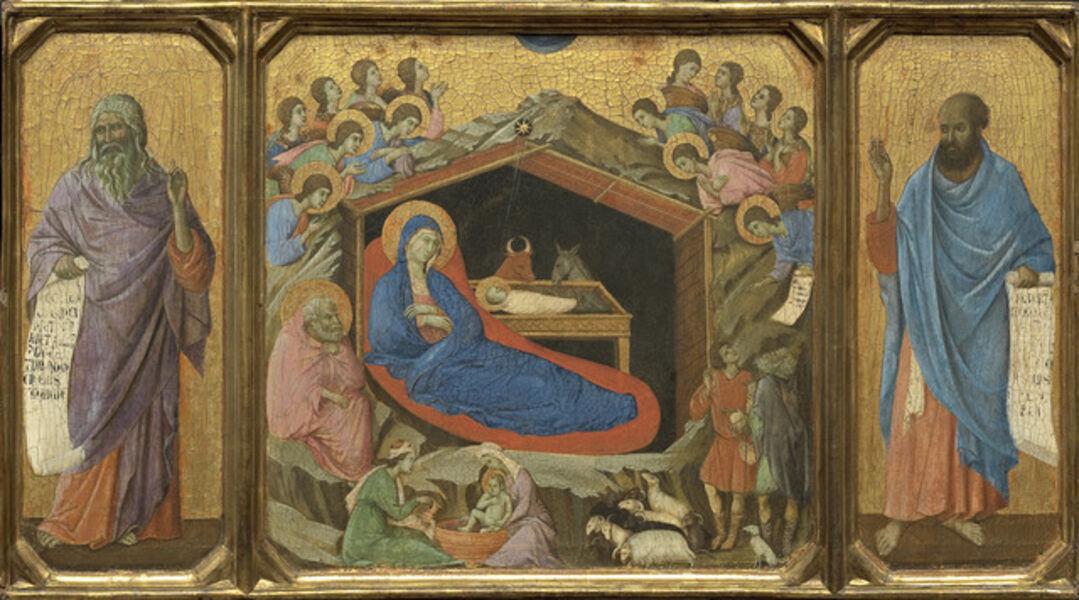 Duccio, 'The Nativity with the Prophets Isaiah and Ezekiel', ca. 1308-11