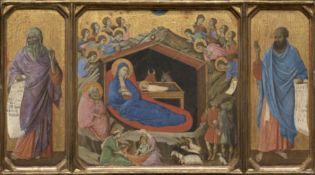 Duccio, 'The Nativity with the Prophets Isaiah and Ezekiel', 1308/1311