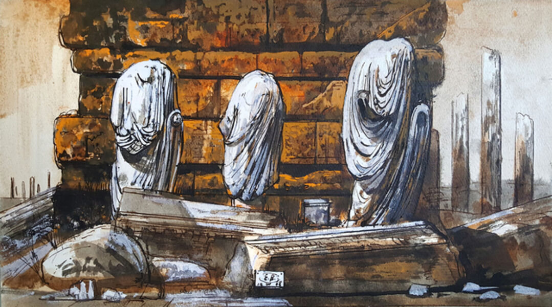 Eugene Berman, 'Leptis Magnus: Three Headless Draped Statues Against a Wall', 1968