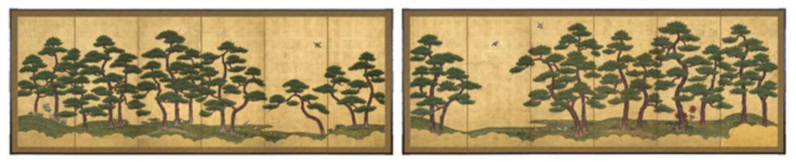 Pair of Six-Panel Screens, Pine Trees (T-3606L)