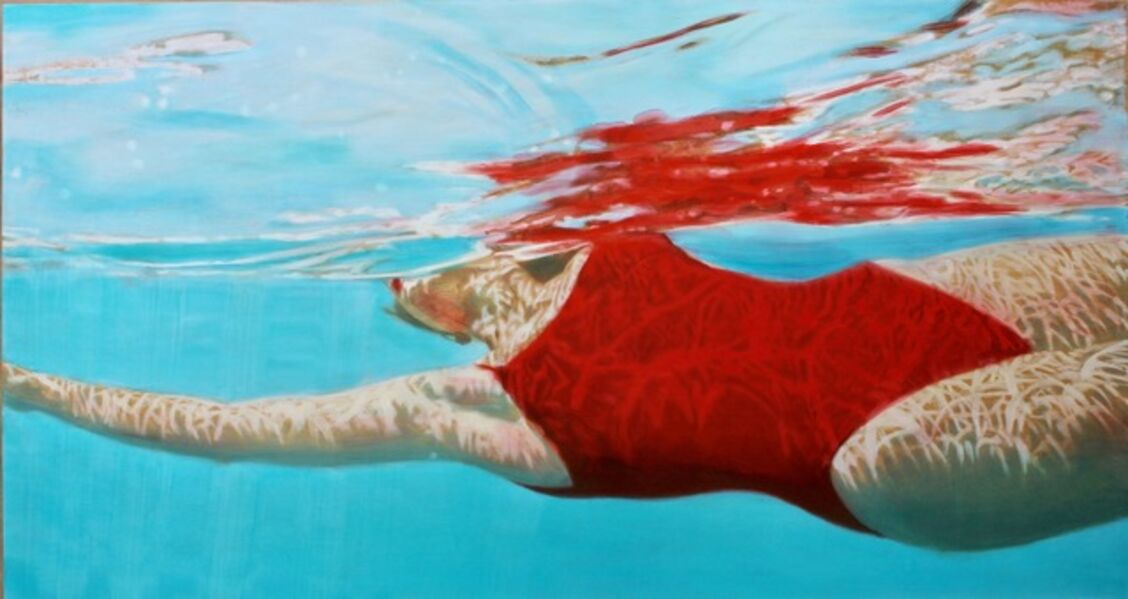"Carol Bennett, '""Suspense"" oil painting of a woman in a red swimsuit in a vibrant blue pool', 2010-2018"