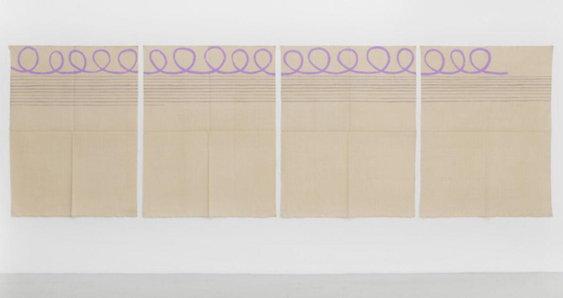 Giorgio Griffa, 'Polittico arabesco con linee orizzontail', 1997