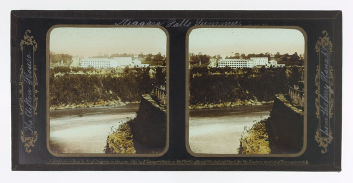 Frederick and William Langenheim, 'Summer Niagara Falls, The Clifton House from the Ferry House A.Y.', 1855