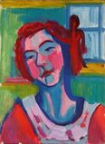 Mädchenkopf mit Holzfigur am Fenster (Girl's Head with Wooden Sculpture at the Window)