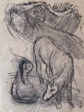 Studies of a Horse and Kneeling Woman