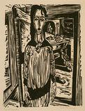 Schlankes Mädchen vor offener Zimmertür (Edith Spengler) (Slender Girl in front of an open Door (Edith Spengler))