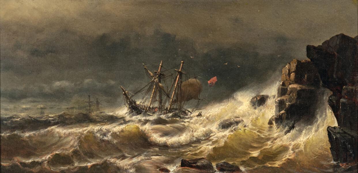 Mauritz Frederik Hendrik de Haas, 'Ship in Peril in a Stormy Sea'