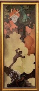 R. H. Ives Gammell, 'Original Study for Plate VI Down Titanic Glooms of Chasmed Fears', 1950's