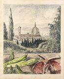 Veduta di Firenze con bistecche ed insalata