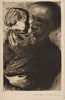 Käthe Kollwitz, 'Two Impressions of Mutter mit Kind auf dem Arm'