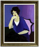 Itzchak Tarkay Large Acrylic Painting On Canvas Signed Female Portrait Cafe Art