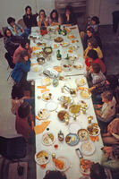 """Judy Chicago, 'Thursday Night Potluck with """"The Dinner Party"""" Workers', 1978"""