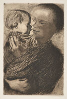 Käthe Kollwitz, 'Mother Holding Child in Her Arms', 1910