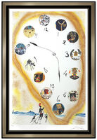 Salvador Dalí, 'Salvador Dali Color Lithograph Hand Signed Time And Space Surreal Clock Artwork', 1973