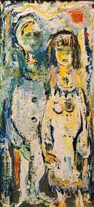 Belle Golinko, 'Untitled Couple Mid Century Jewish Expressionist OIl Painting', 1950-1959
