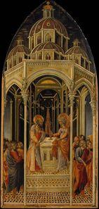Giovanni di Paolo, 'The Annunciation to Zacharias; (verso) The Angel of the Annunciation', ca. 1455–1460
