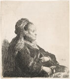 THE ARTIST'S MOTHER SEATED, IN AN ORIENTAL HEADDRESS: HALF LENGTH
