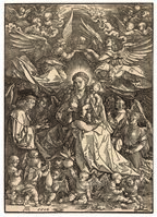 Albrecht Dürer, 'The Virgin and Child surrounded by many Angels', 1518