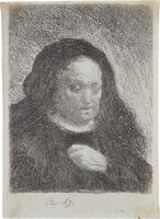 Rembrandt van Rijn, 'Rembrandt's Mother with her Hand on her Chest', 1631