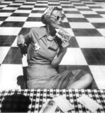 Mary Sykes with Postcards, Puerto Rico