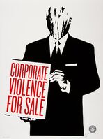 Shepard Fairey (OBEY), 'It's Mourning in America; Top Elite Faschions for Sale; Legislative Influence for Sale; Corporate Violence for Sale (four works)', 2011
