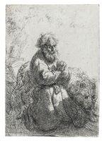 Rembrandt van Rijn, 'St. Jerome Kneeling in Prayer, Looking Down', 1635