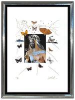 Salvador Dalí, 'Salvador Dali Color Etching Hand Signed Surrealist Portrait Butterfly Framed Art', 1971