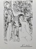 Pablo Picasso, 'Femme au voile, modèle assis et tête de Rembrandt (Suite Vollard Planche XXXV)', 1973