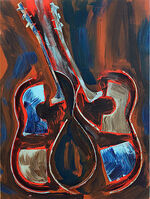 Arman, 'Untitled, Sliced guitar with acrylic paint on canvas', 2002
