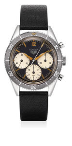 Heuer, 'An extremely rare, early and fine stainless chronograph wristwatch with big subsidiary dials, large bezel and full lumes hands', 1962