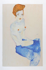 Seated Girl with Bare Torso and Blue Skirt