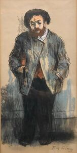 "Tully Filmus, 'Judaica Pastel Drawing ""The Violinist"" Jewish Klezmer Musician WPA Artist', 20th century"